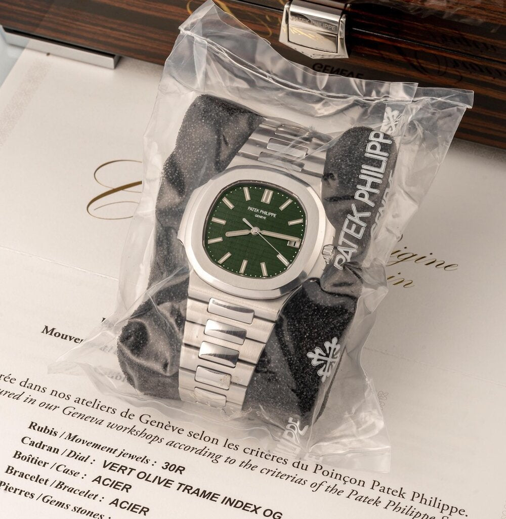 patek philippe 5711 watch olive green dial at auction