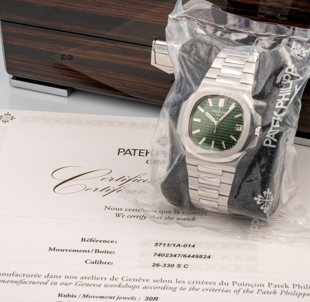 patek philippe 5711 olive green at auction in monaco