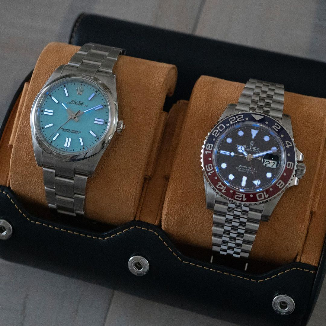 Rolex Pepsi and Rolex Oyster Perpetual in everest watch roll