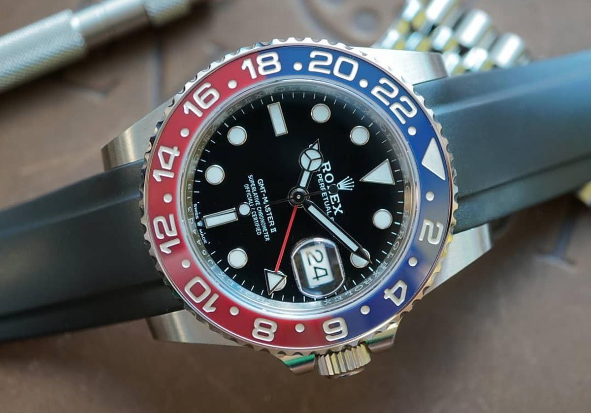 rolex pepsi gmt on rubber watch band