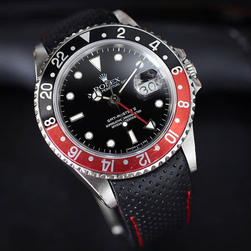 rolex gmt on perforated leather strap by everest