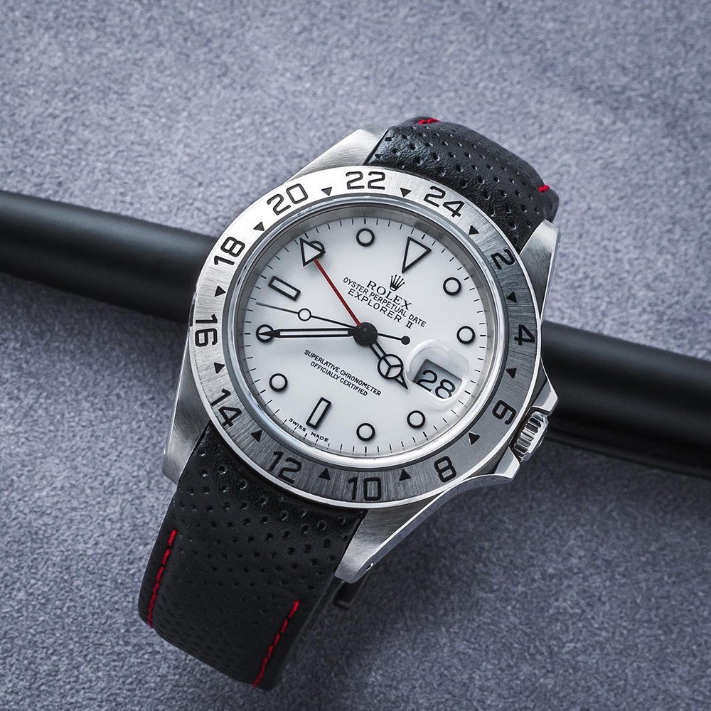 rolex explorer on leather strap