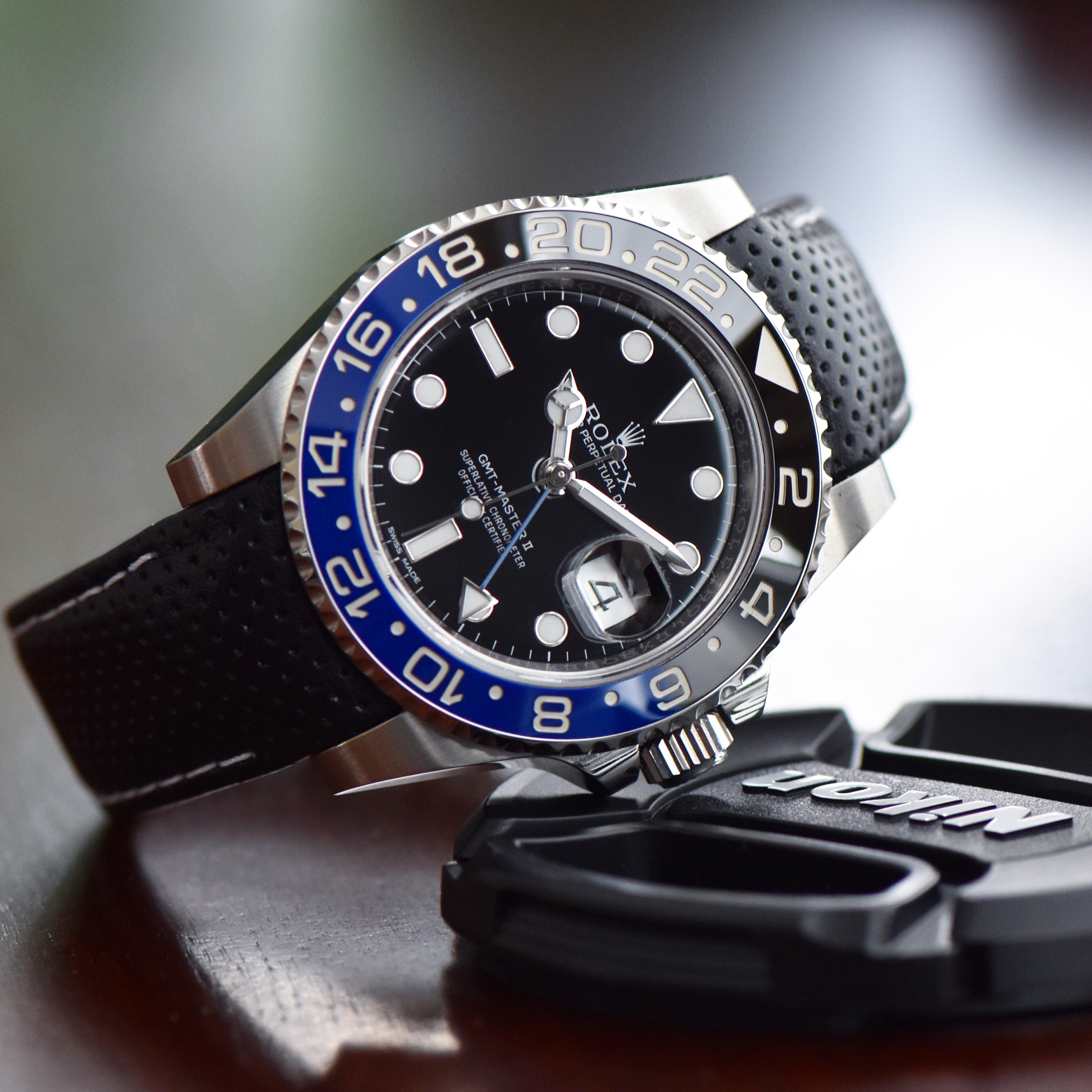 perforated leather racing strap on rolex ceramic gmt master