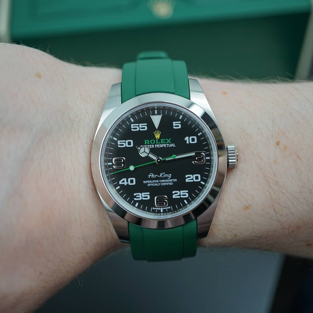 rolex air king on green rubber everest band