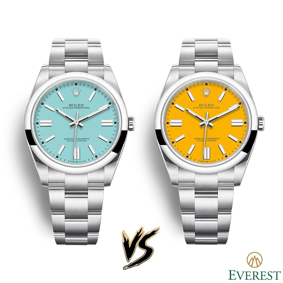 rolex battle turquoise blue oyster perpetual vs yellow oyster perpetual