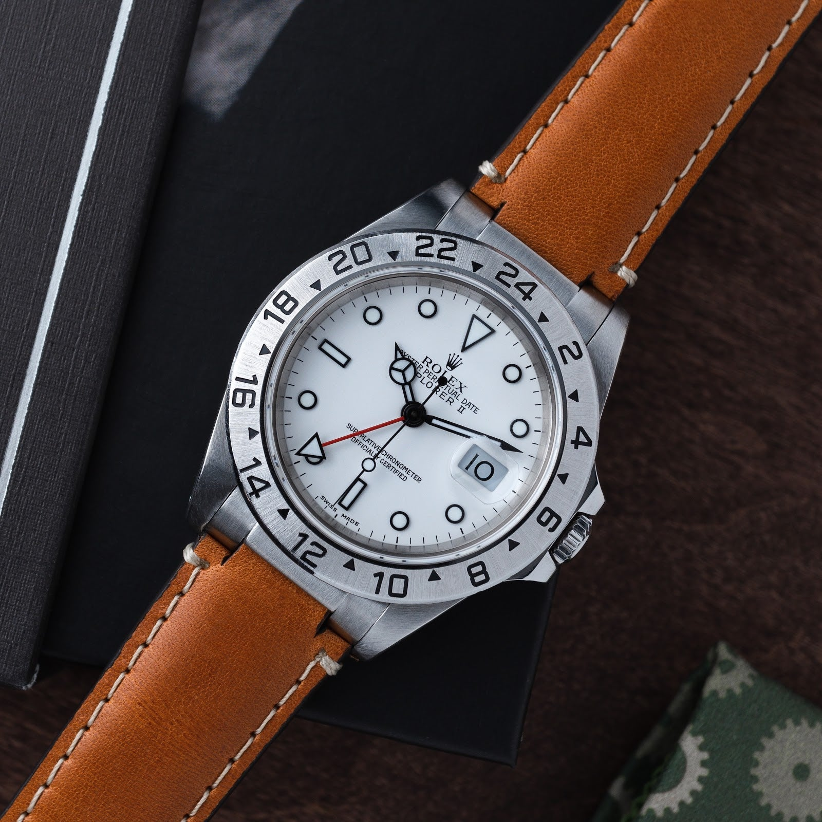 rolex explorer on a tan leather everest strap