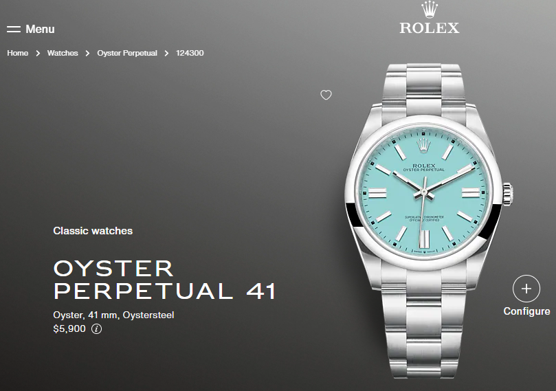 rolex oyster perpetual 41 msrp price on website