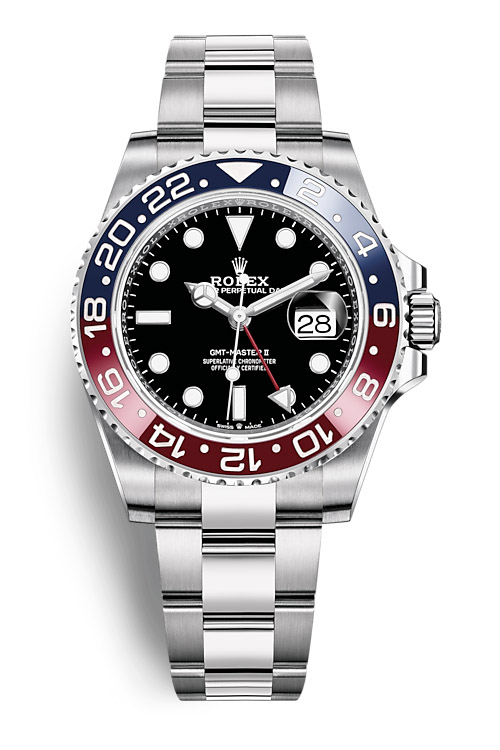 rolex pepsi gmt master II on stainless steel oyster bracelet
