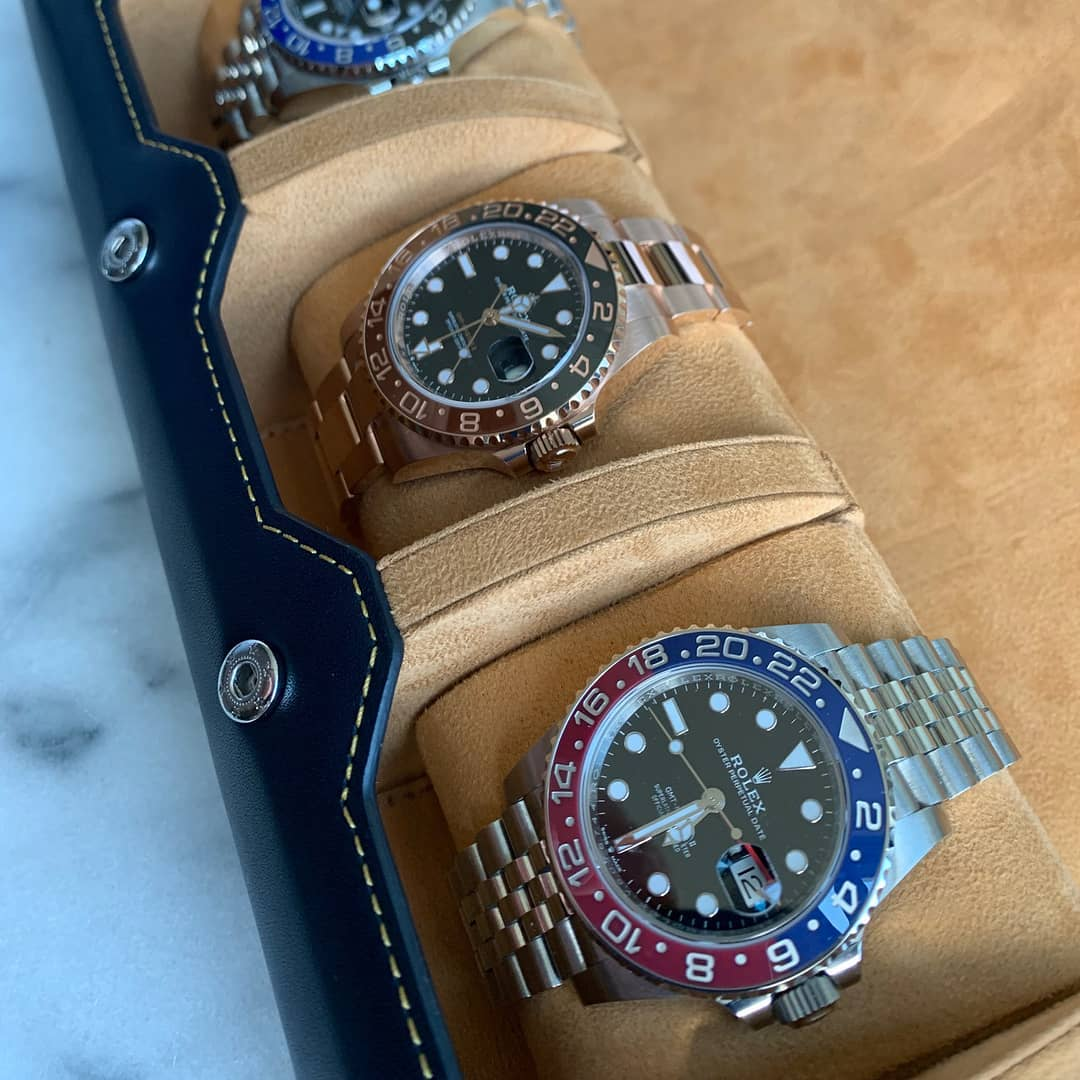 rolex watches inside of a leather everest watch roll.