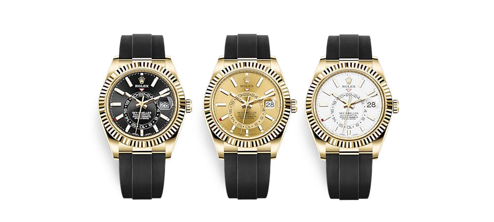 Rolex sky-dweller Oysterflex yellow gold