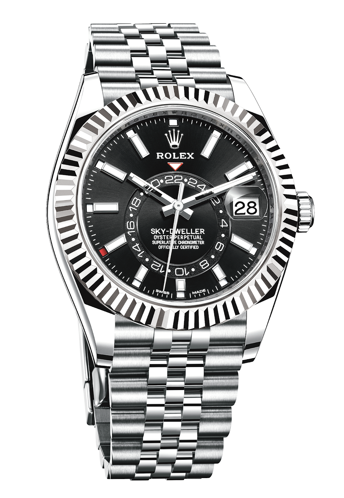 rolex 2021 sky dweller with black dial and jubilee bracelet