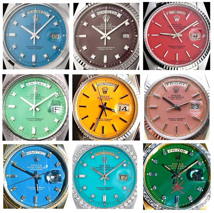 stella dial rolex green yellow brown