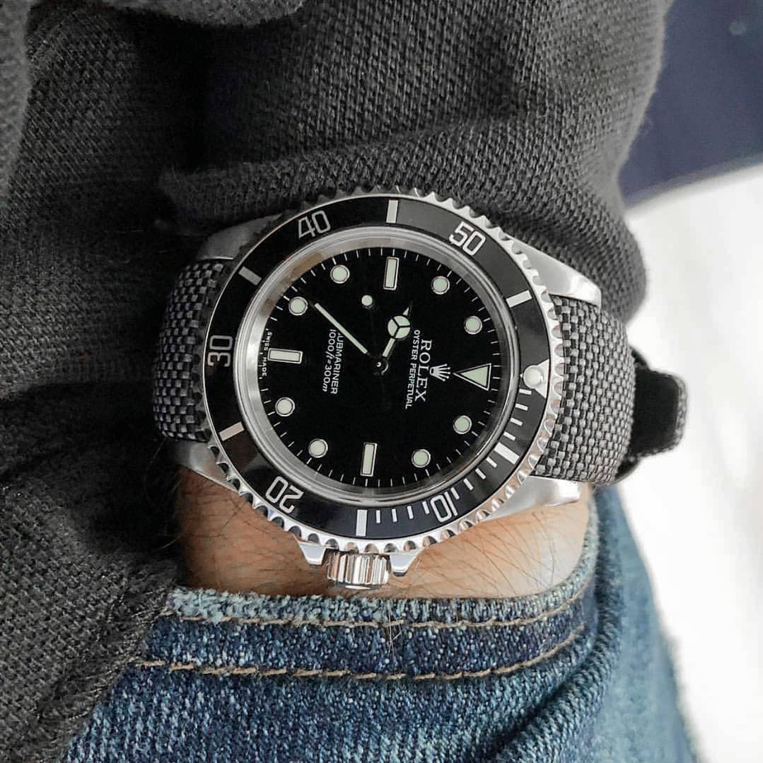 curved end nylon strap on rolex submariner