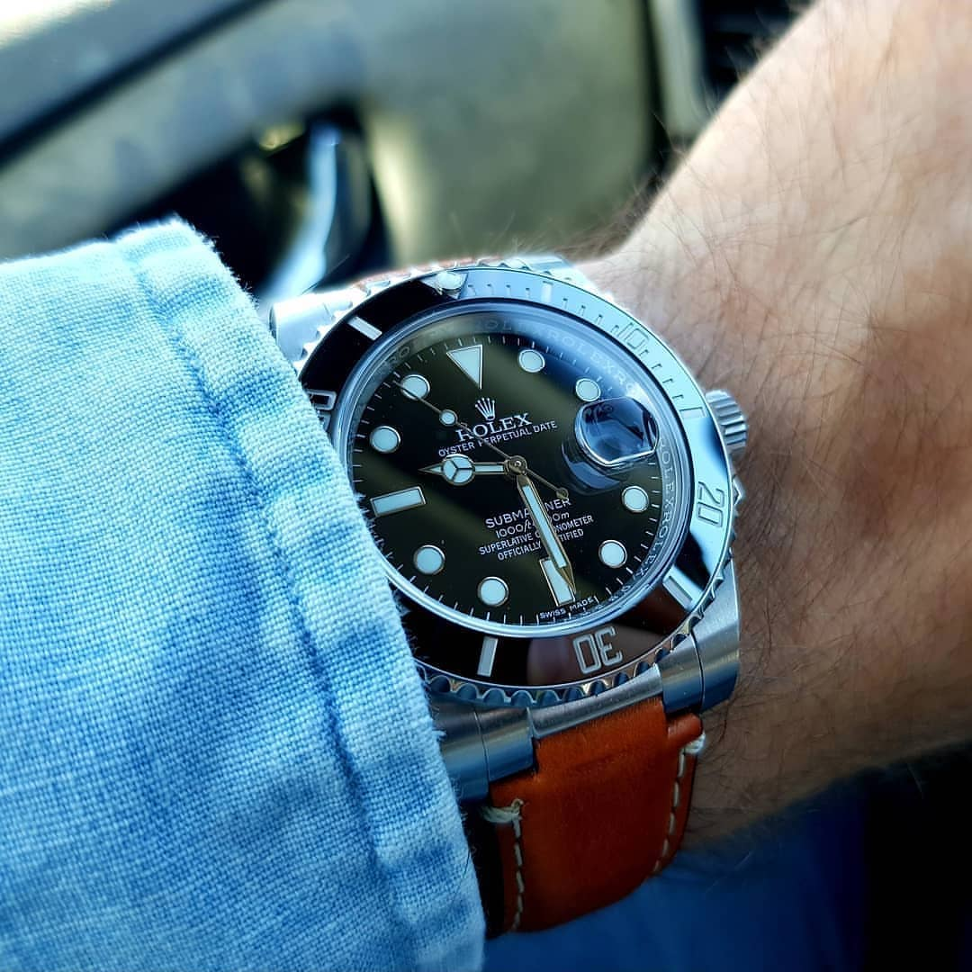 rolex submariner on patented steel end link tan leather band from everest