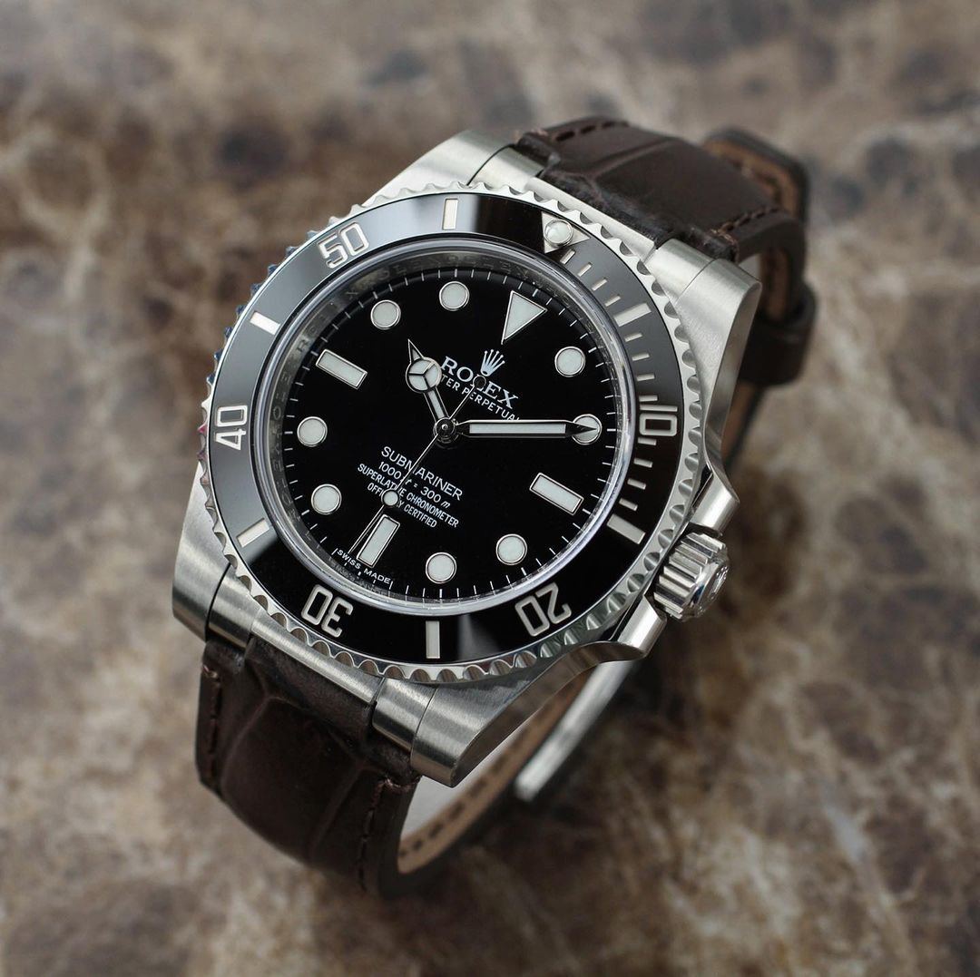 rolex sub on everest leather band with steel end link