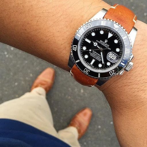Rolex Submariner on curved end leather strap from everest