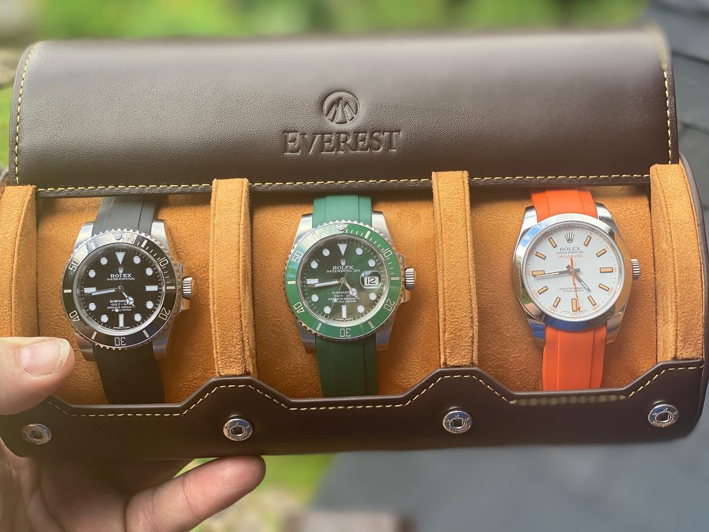 leather watch roll for 3 watches espresso brown color
