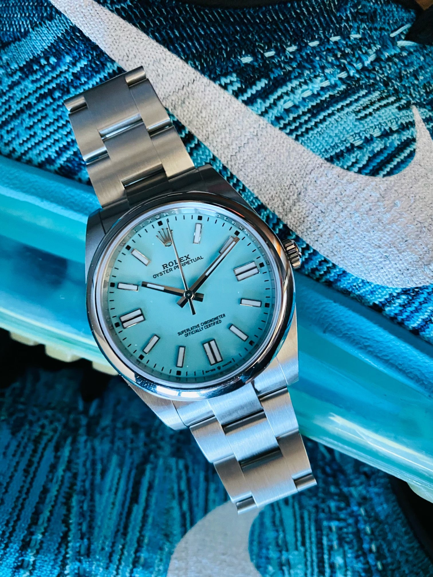tiffany turquoise dialed rolex oyster perpetual 41 and nike shoes