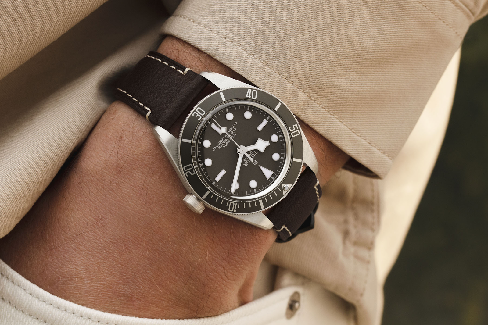 tudor 2021  black bay taupe with silver case