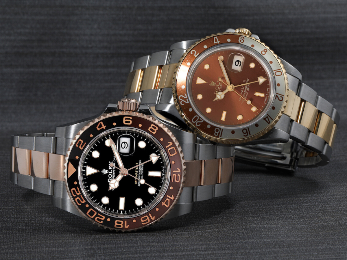 two rolex gmt masters rootbeer