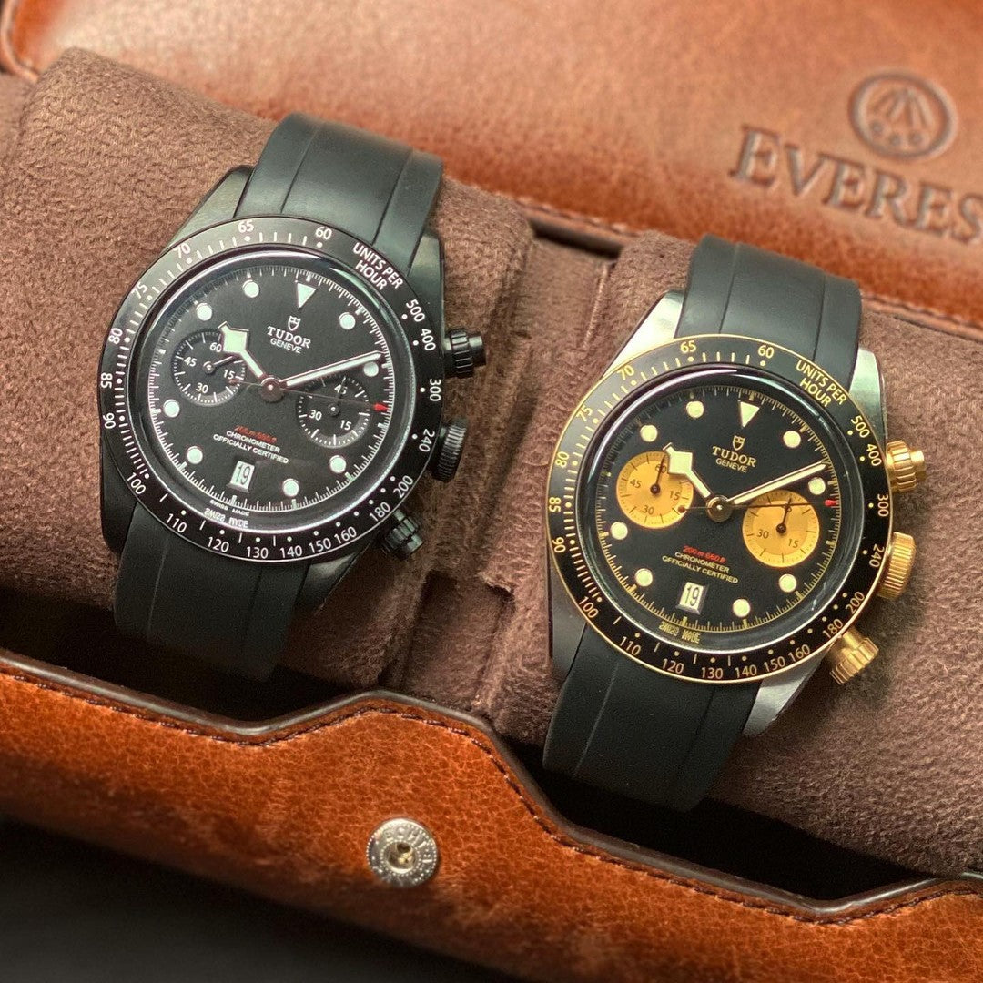 two tudor watches on rubber straps in an everest leather watch roll
