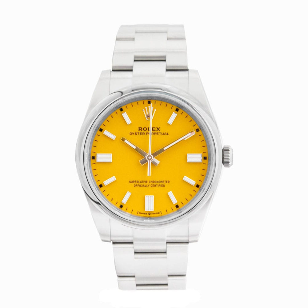 new rolex oyster perpetual in yellow dial