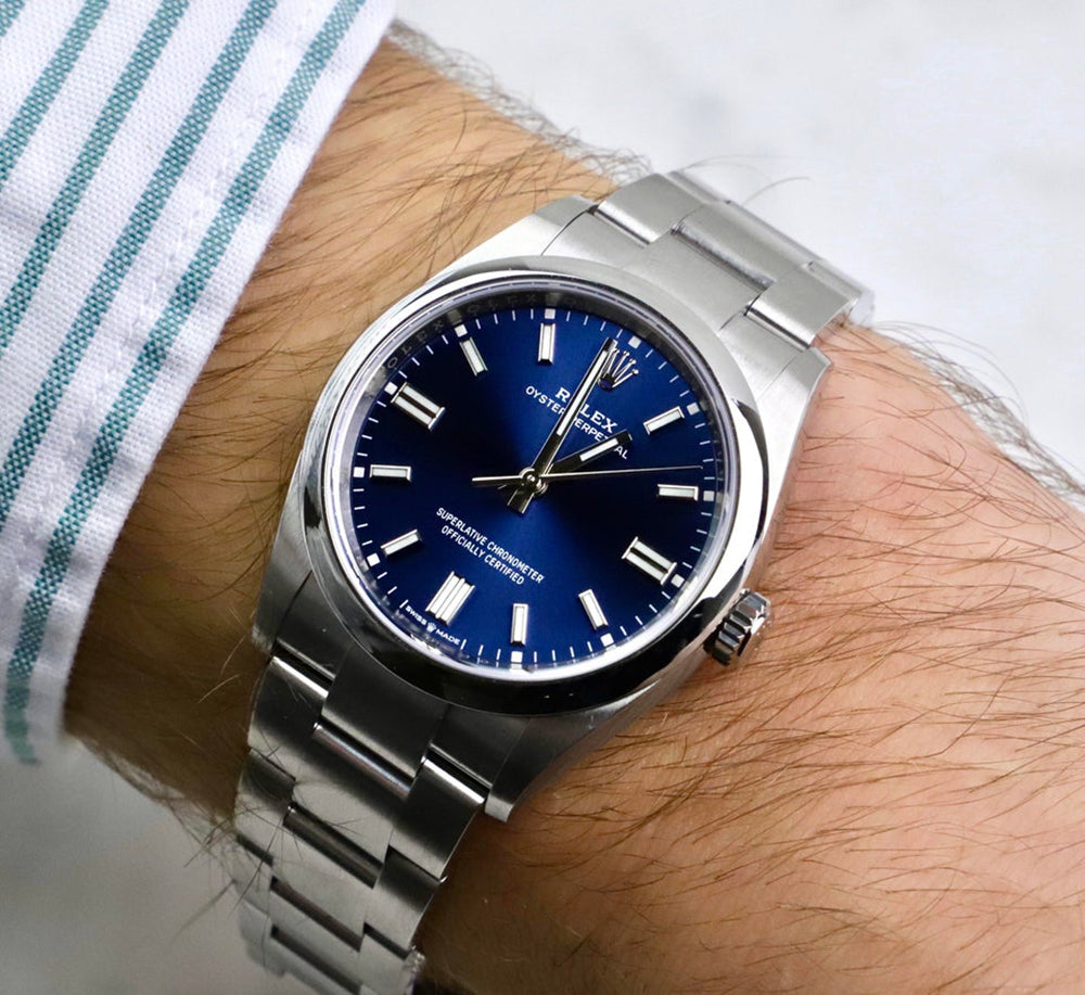 rolex oyster perpetual in blue
