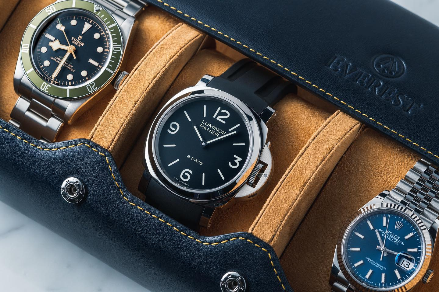 leather watch roll in navy blue from everest