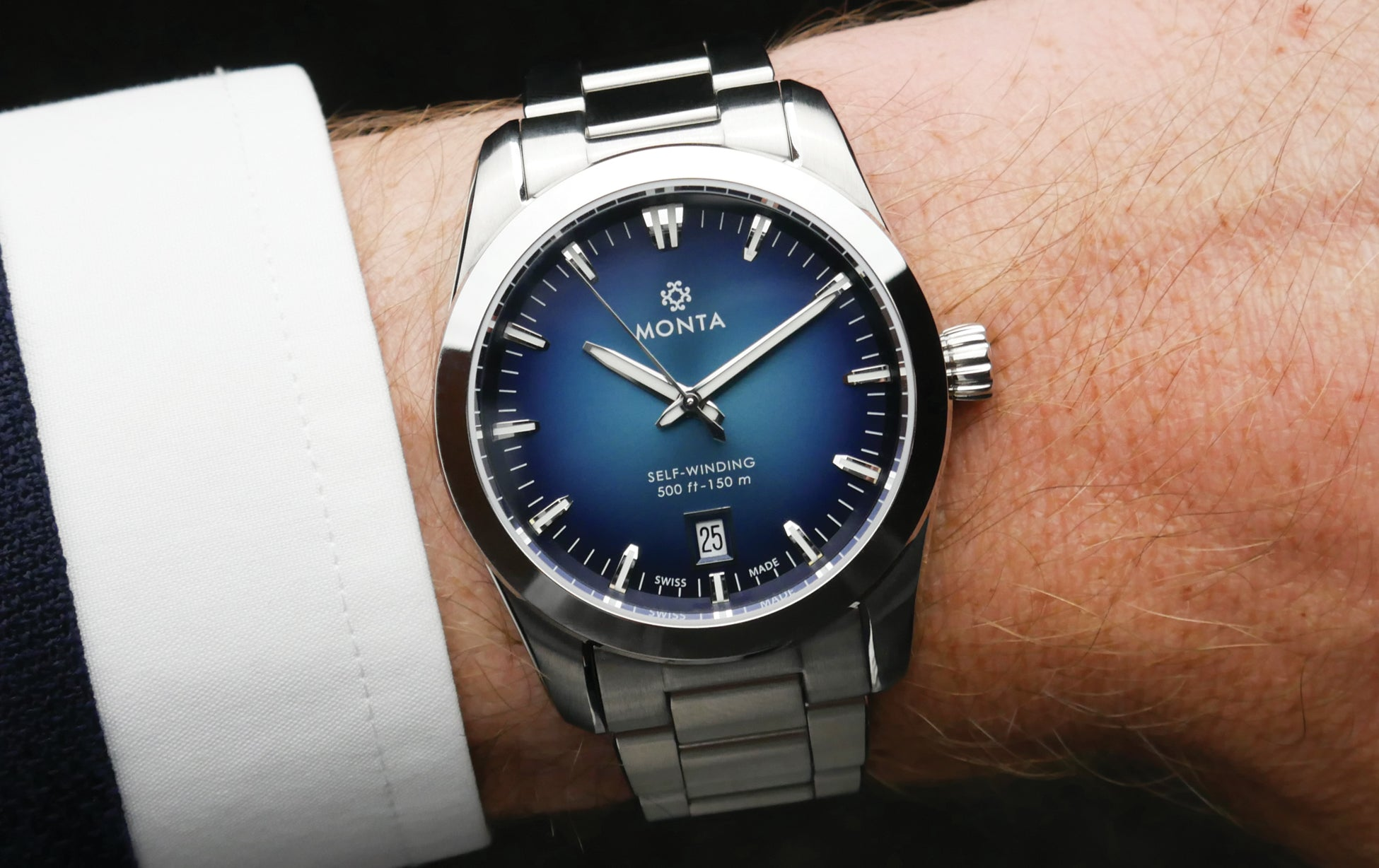 MONTA Noble Blue Dial on wrist