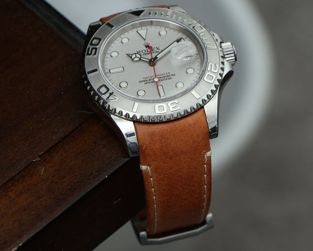 rolex yacht-master tan leather strap