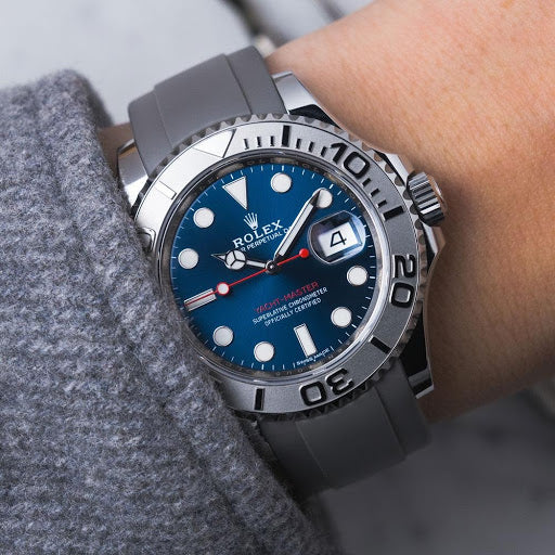 rolex yacht master on gray rubber strap
