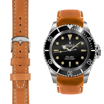 vintage submariner tan leather watch strap
