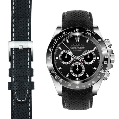Rolex Daytona black leather watch straps