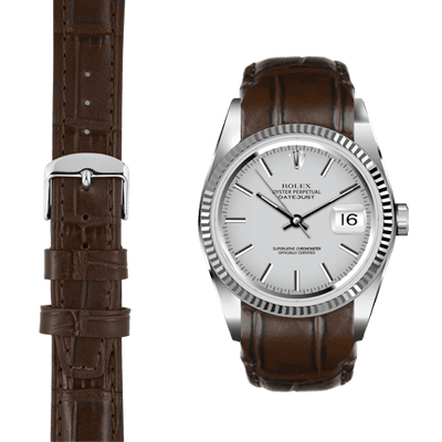 Datejust brown alligator leather watch strap