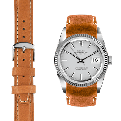 Datejust tan leather watch strap