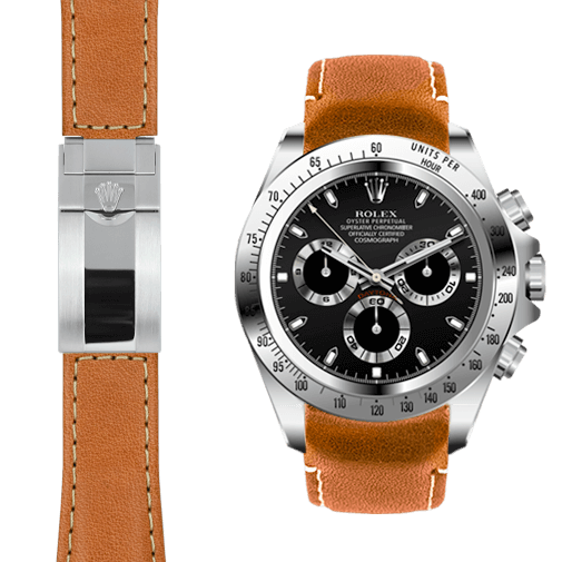 Curved End Leather Strap For Rolex Daytona Watch Everest Horology Products