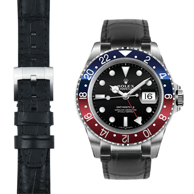 Rolex GMT black alligator leather watch strap