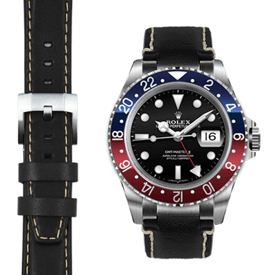Rolex GMT black leather watch strap