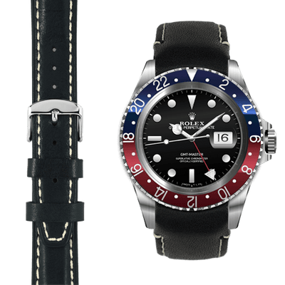 GMT black leather watch strap