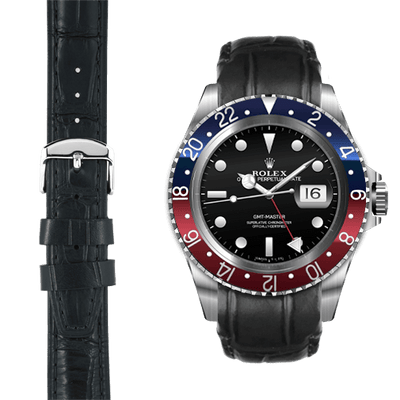 GMT black alligator leather watch strap