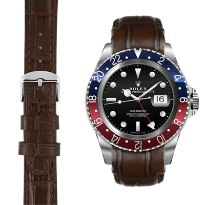 GMT brown alligator leather watch strap