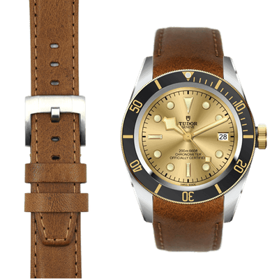 Tudor Black Bay Steel chestnut leather watch strap