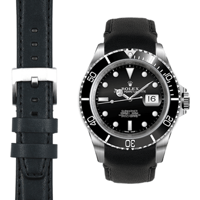 Submariner Balck Leather Watch Strap