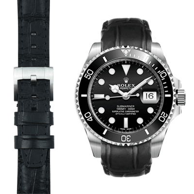 Submariner Black Leather Watch Strap