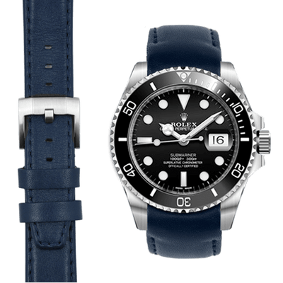 Submariner Blue Leather Watch Strap
