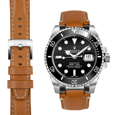 Submariner tan leather watch strap