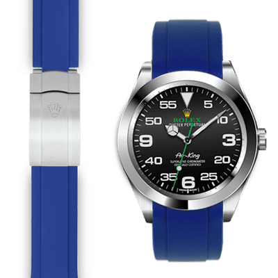 Rolex Air King blue rubber deployant watch strap