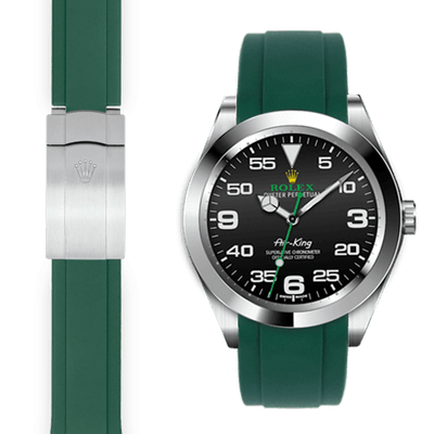 Rolex Air King Green rubber deployant watch strap