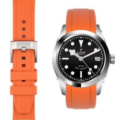 Tudor Black Bay orange rubber strap