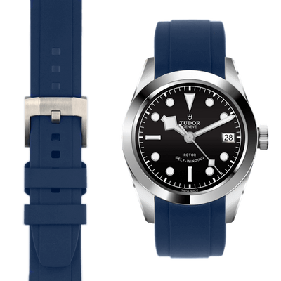 Tudor black bay blue rubber strap